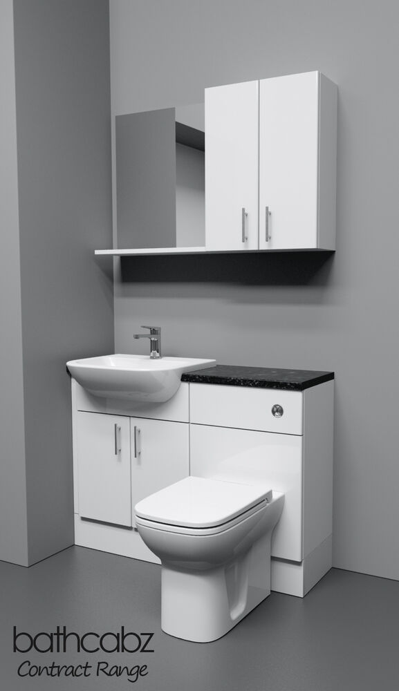white bathroom fitted furniture 1100mm with wall units ebay. Black Bedroom Furniture Sets. Home Design Ideas