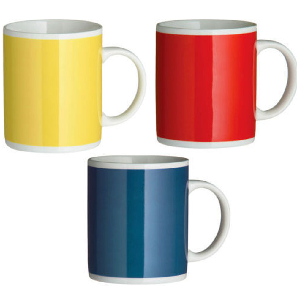3 piece bright funky coffee tea latte 11oz drink mug cup colours red blue yellow ebay - Funky espresso cups ...
