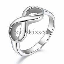 Women's Girls Infinity Love Promise Stainless Steel Band Fashion Ring Size 5-11