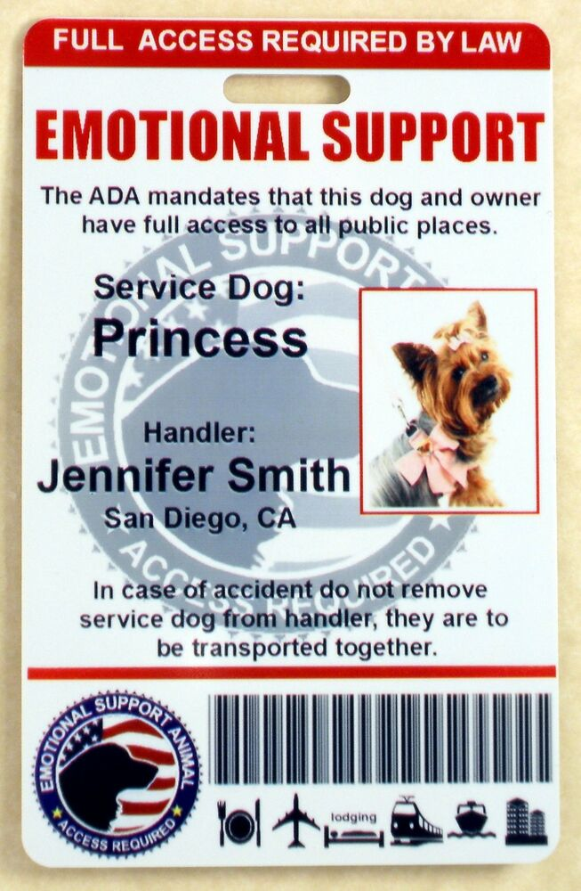 Holographic Emotional Support Dog Id Card For Service Dog