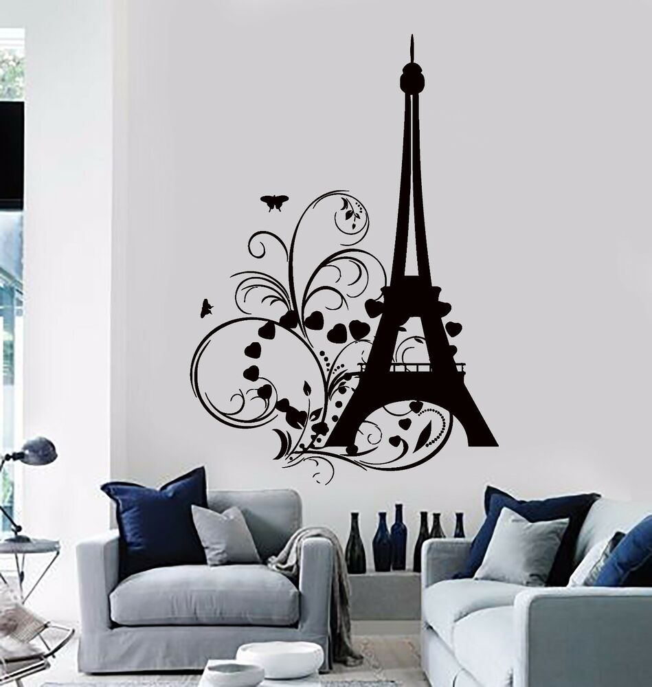Wall Sticker Eiffel Tower Paris Hearts Butterfly Romantic Decor