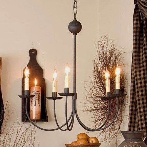 LARGE 5-ARM COUNTRY CHANDELIER IN TEXTURED BLACK/PRIMITIVE