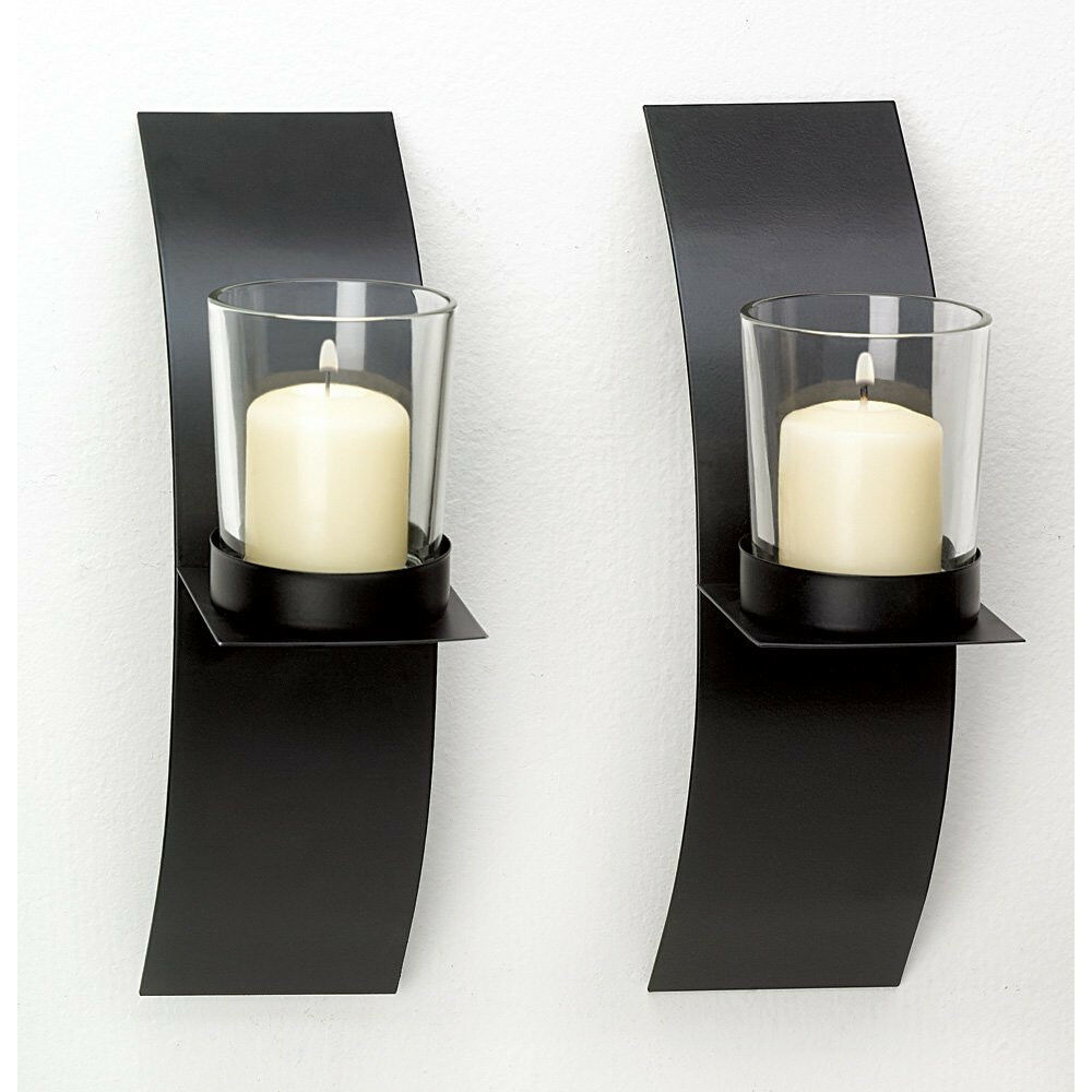 New Modern Art Candle Holder Wall Sconce Plaque Set Of Two Ebay