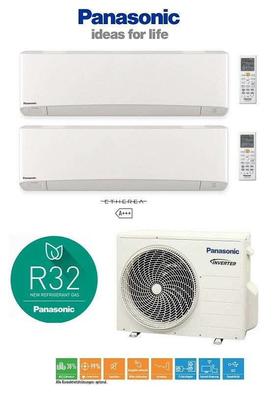 panasonic multi split 2 r um 2 x 2 0 klimaanlage inverter w rmepumpe klimager t ebay. Black Bedroom Furniture Sets. Home Design Ideas
