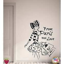 Wall Stickers Vinyl Decal From Paris with Love Pretty French Fashion (EM508)