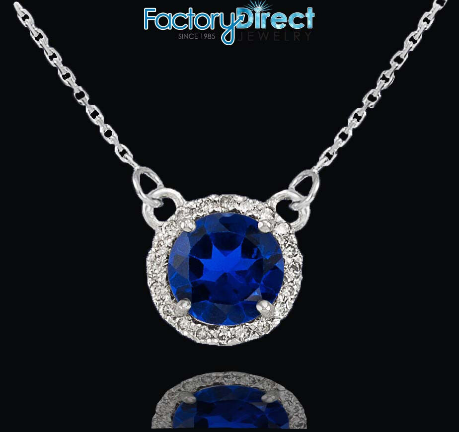 14k white gold diamond blue sapphire necklace ebay. Black Bedroom Furniture Sets. Home Design Ideas
