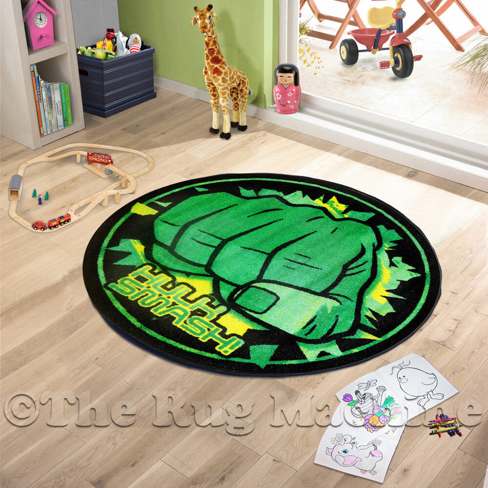Avengers Incredible Hulk Smash Kids Fun Rug 100x100cm Non