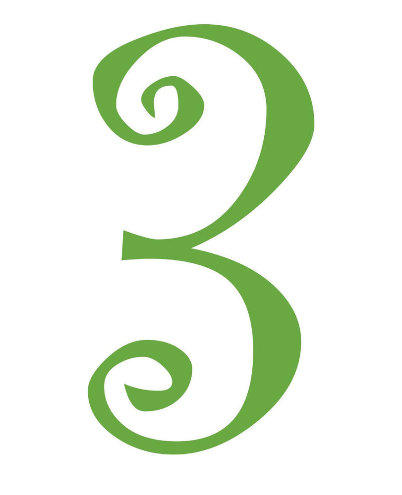 Number 3 initial vinyl car decal window sticker monogram for Window number