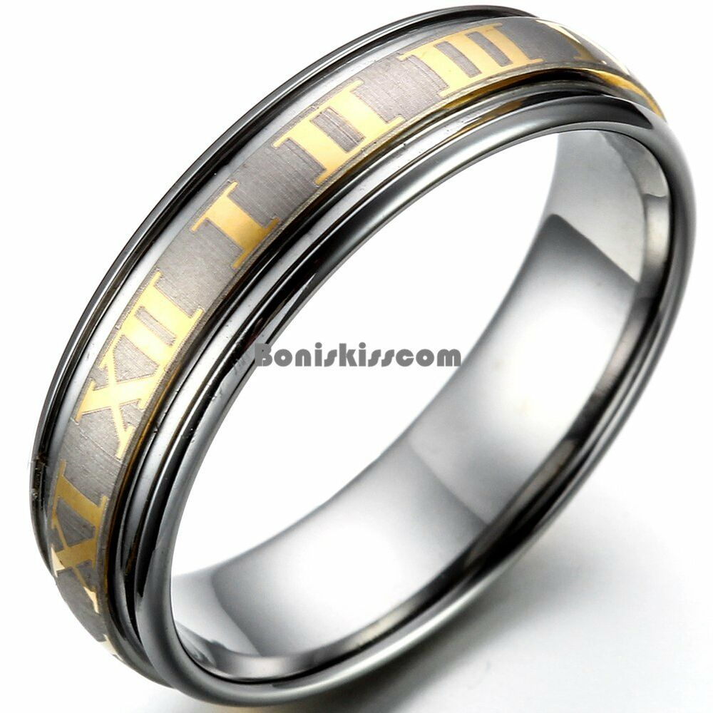 6mm Gold Tone Roman Numeral Center Matte Tungsten Carbide