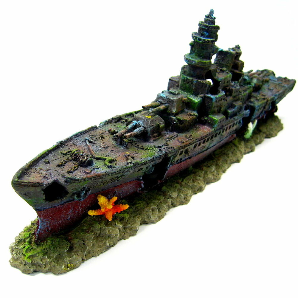 Warship cave aquarium ornament 49cm battleship ship for Aquarium decoration ship