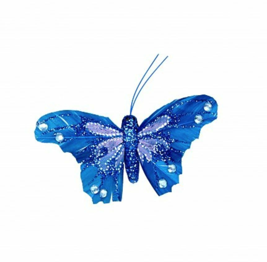 Glitter butterflies diamante pack of 12 medium decor for Outdoor butterfly ornaments