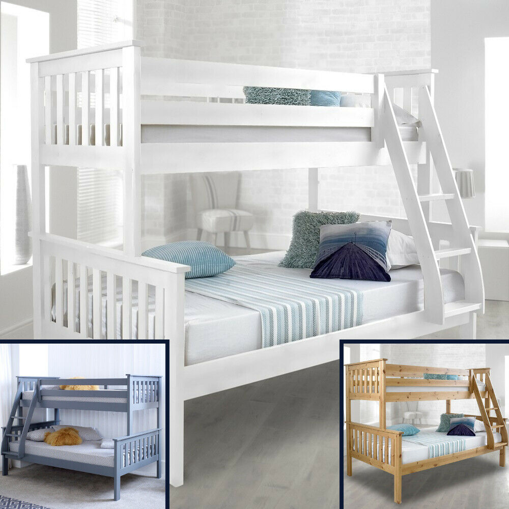 Happy beds atlantis solid wood triple sleeper bunk bed 3ft for Wooden bunkbeds