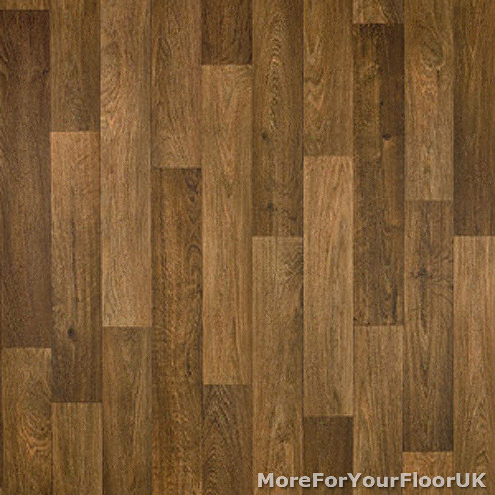 Thick vinyl flooring realistic brown wood plank for Lino flooring wood effect