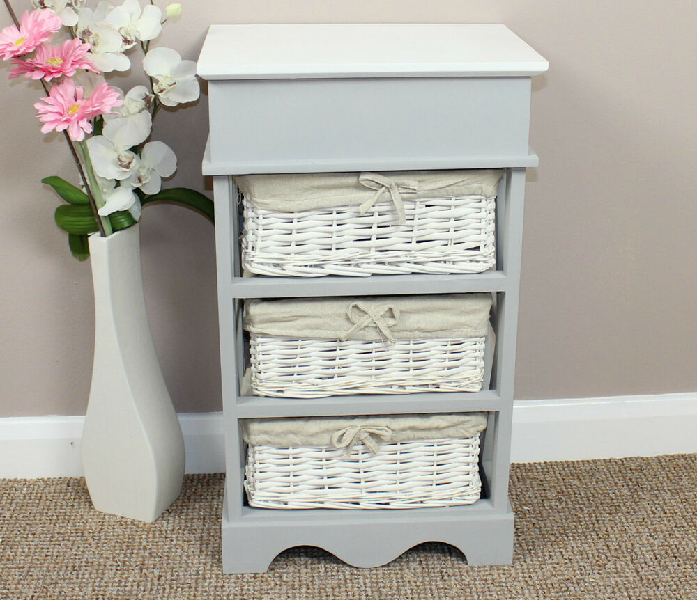 shabby chic wicker basket storage unit ebay. Black Bedroom Furniture Sets. Home Design Ideas