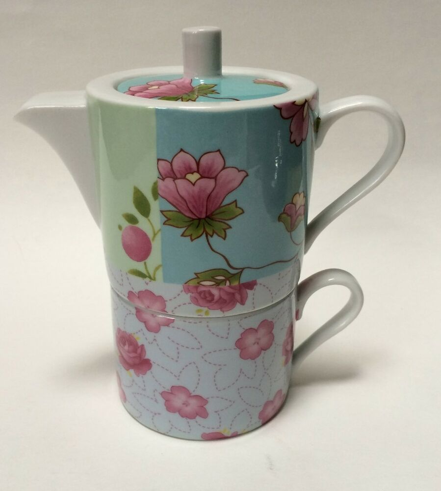 allie cesca spring garden patchwork tea for one set floral stacked teapot cup ebay. Black Bedroom Furniture Sets. Home Design Ideas