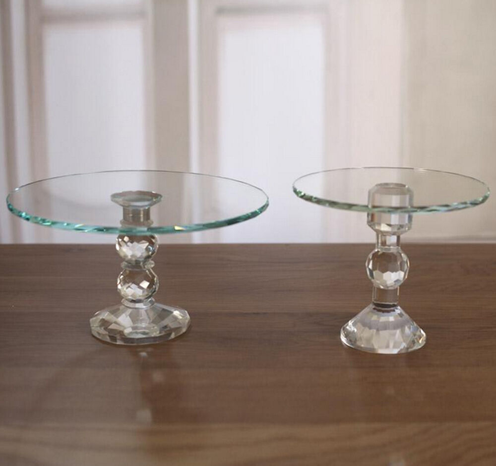 Cake Stand Home Decor : Crystal Cake Plate Cupcake Stand Glass Top Home Decor ...