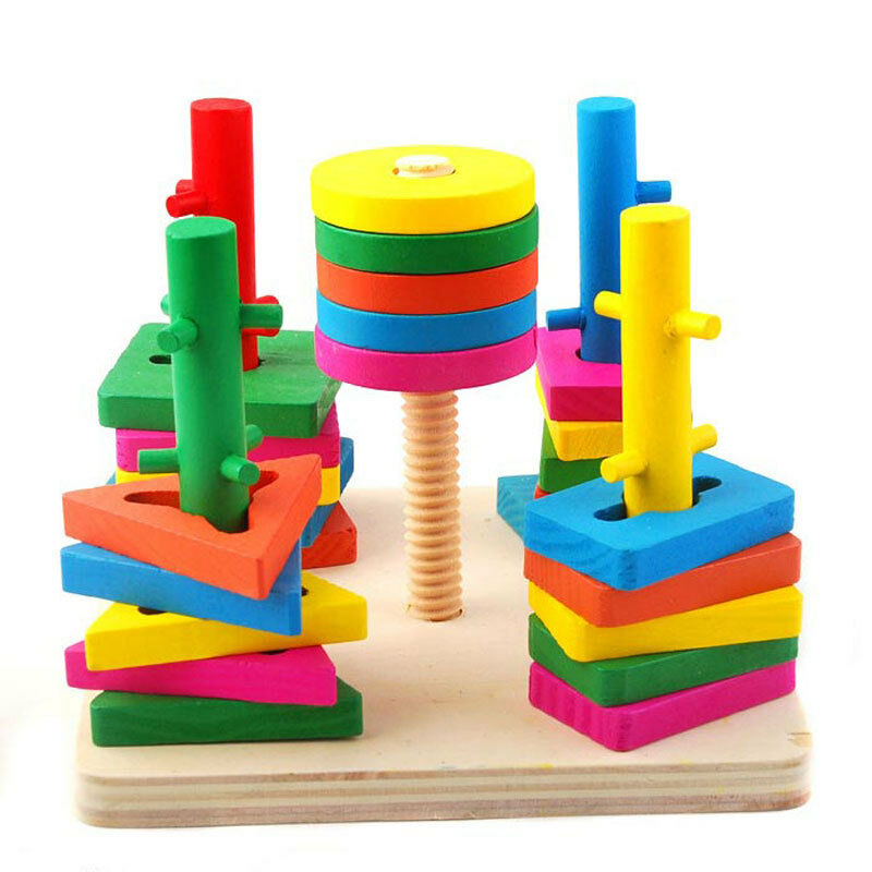 Montessori 5 pillars Topping-on Wood Game matching color ...