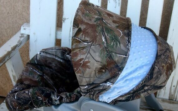Realtree Camo And Baby Blue Minky Infant Car Seat Cover
