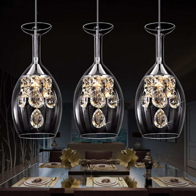 modern crystal wine glasses chandelier ceiling lights pendant lamp led lighting ebay. Black Bedroom Furniture Sets. Home Design Ideas