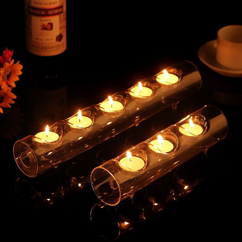 Clear glass tube tealight holder candle dinner