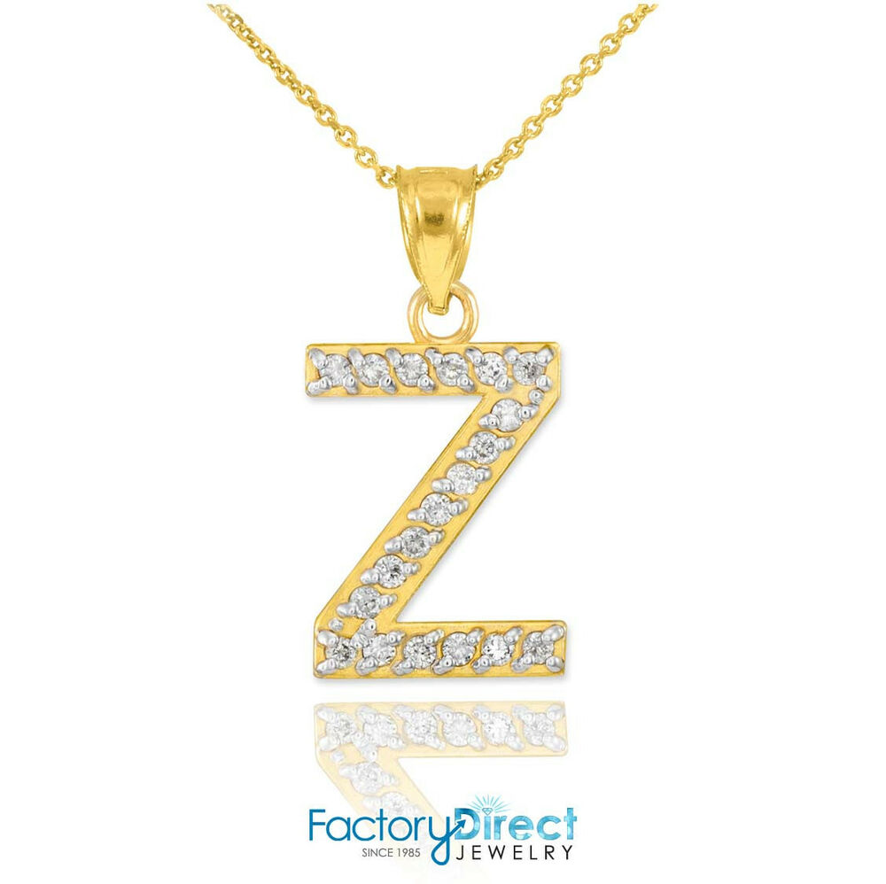 10k 14k yellow gold letter z diamond initial pendant for 10k gold jewelry