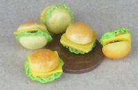 1:12 Scale 5x Cheese Burgers Dolls House Miniature Kitchen Bread Accessory