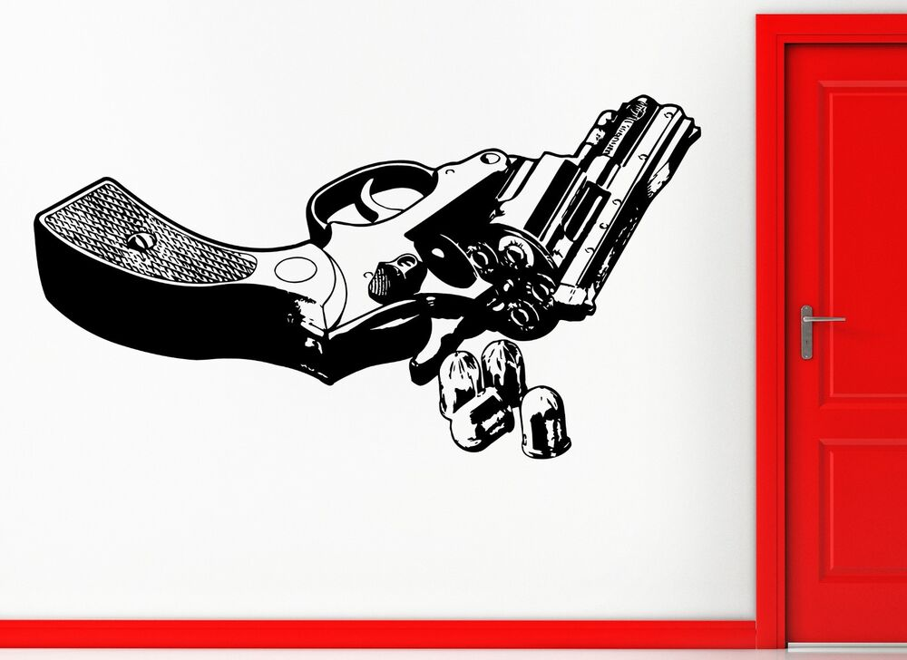 Wall Stickers Vinyl Decal Revolver Gun With Bullets