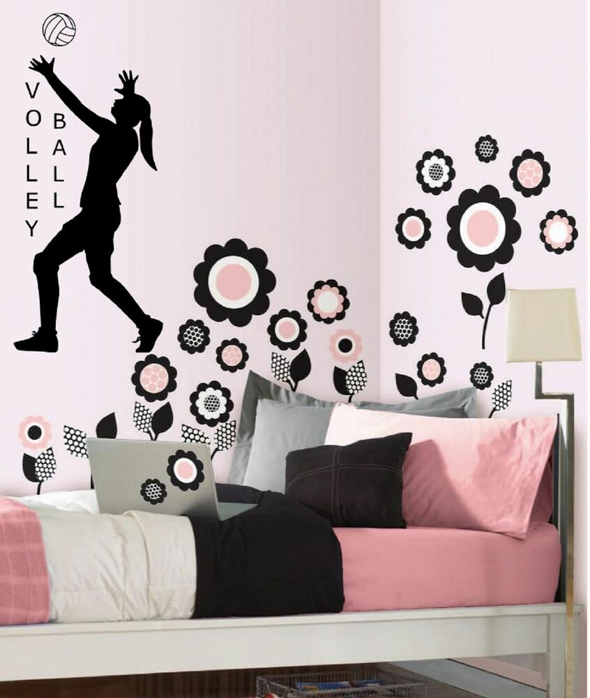 Volleyball Girls Wall Decal Sports Decal Girls Volleyball Black Or