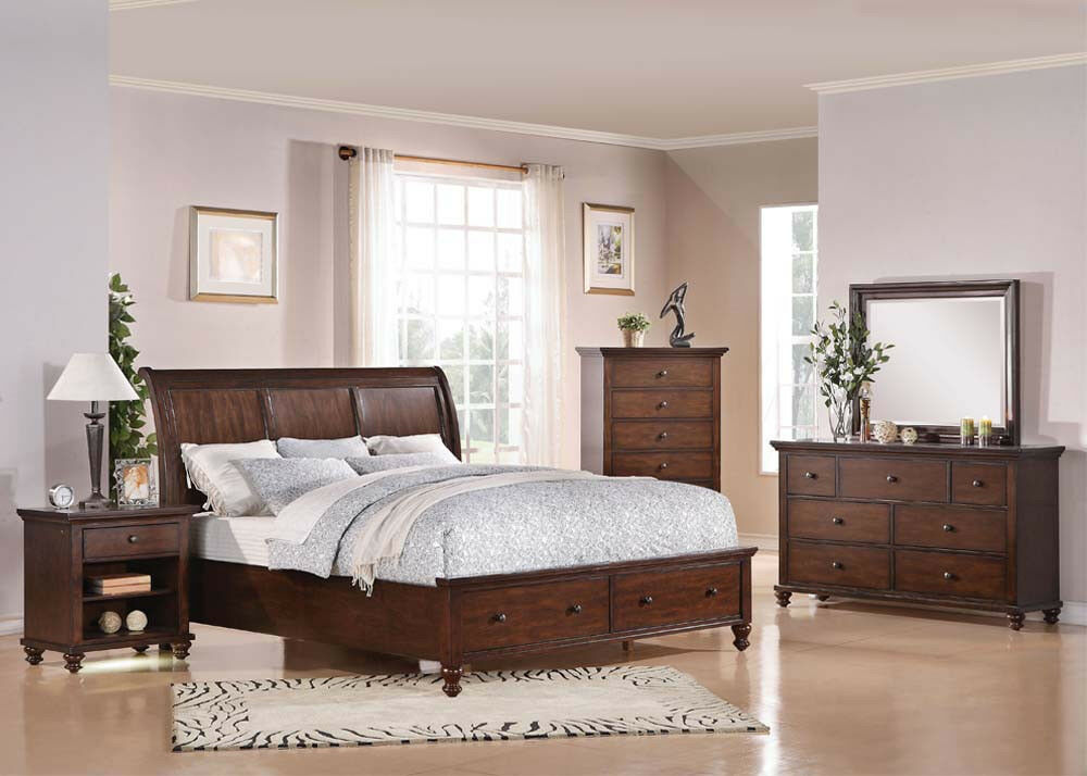 Bedroom furniture king or queen size 4pcs bed set in brown for Bed set queen furniture