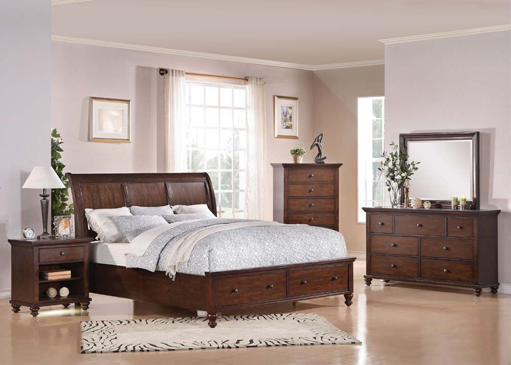 Bedroom furniture king or queen size 4pcs bed set in brown for Bed and bedroom furniture sets