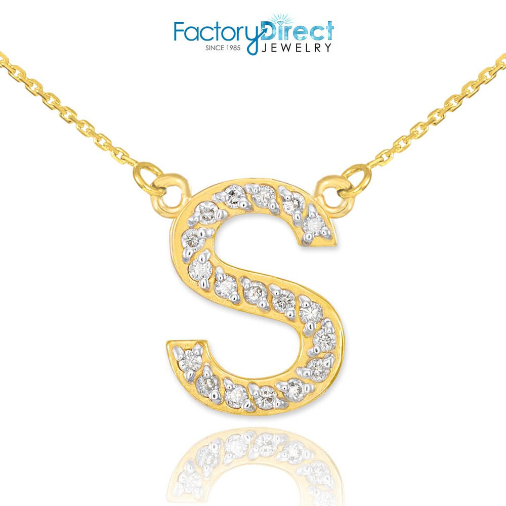14k gold letter quotsquot diamond initial necklace ebay