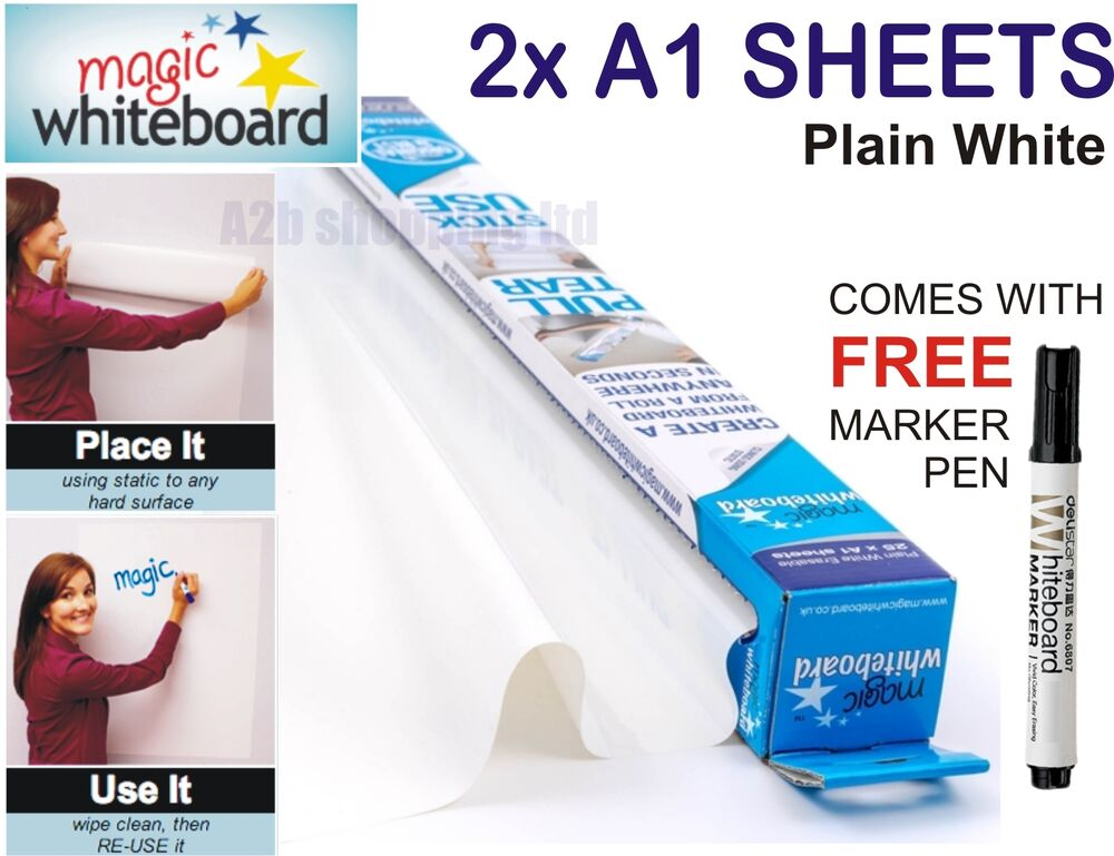 2x A1 Sheets Magic Whiteboard For On Wall Dry Wipe
