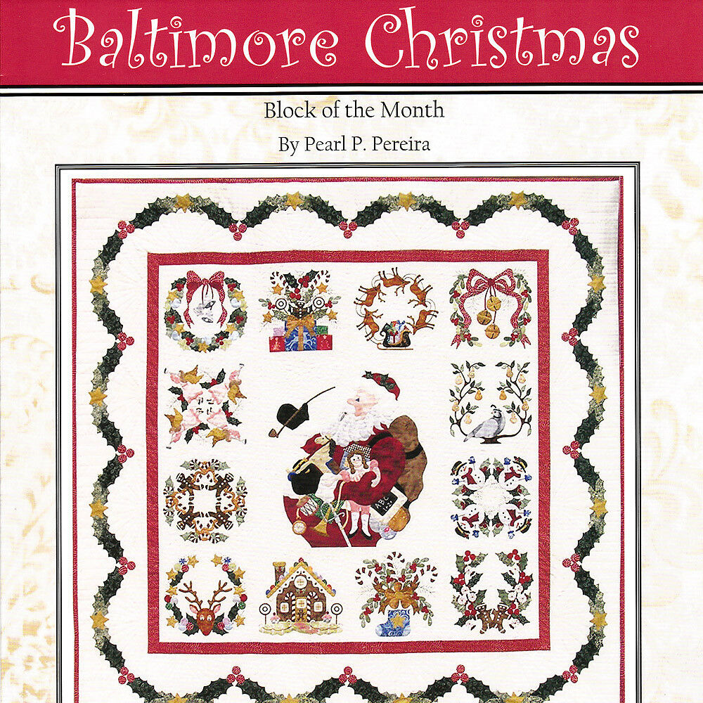 Baltimore Christmas Applique Quilt Pattern Medallion Santa