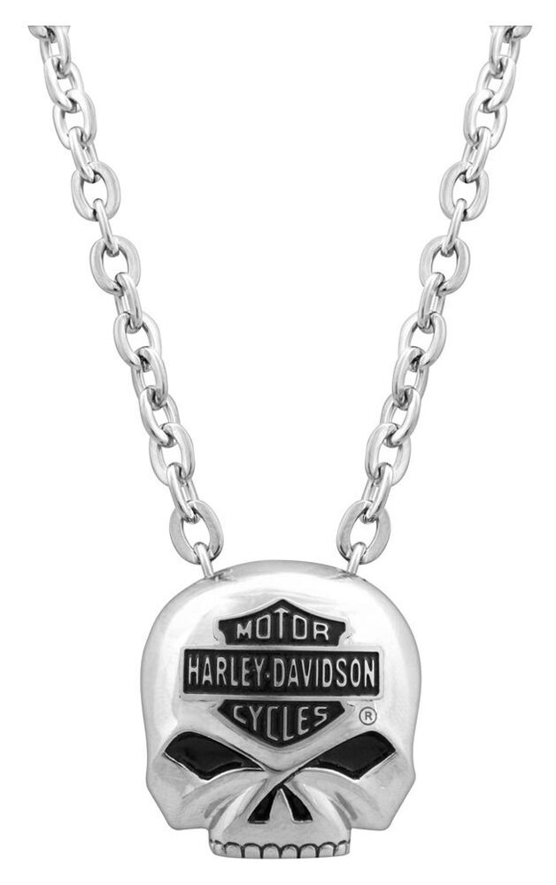 harley davidson mens bar shield skull necklace stainless
