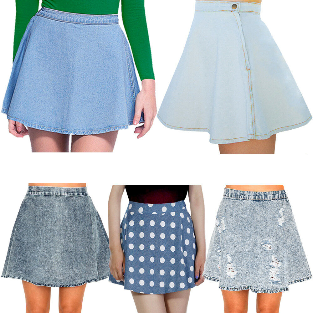denim blue acid wash button waist circle skater skirt