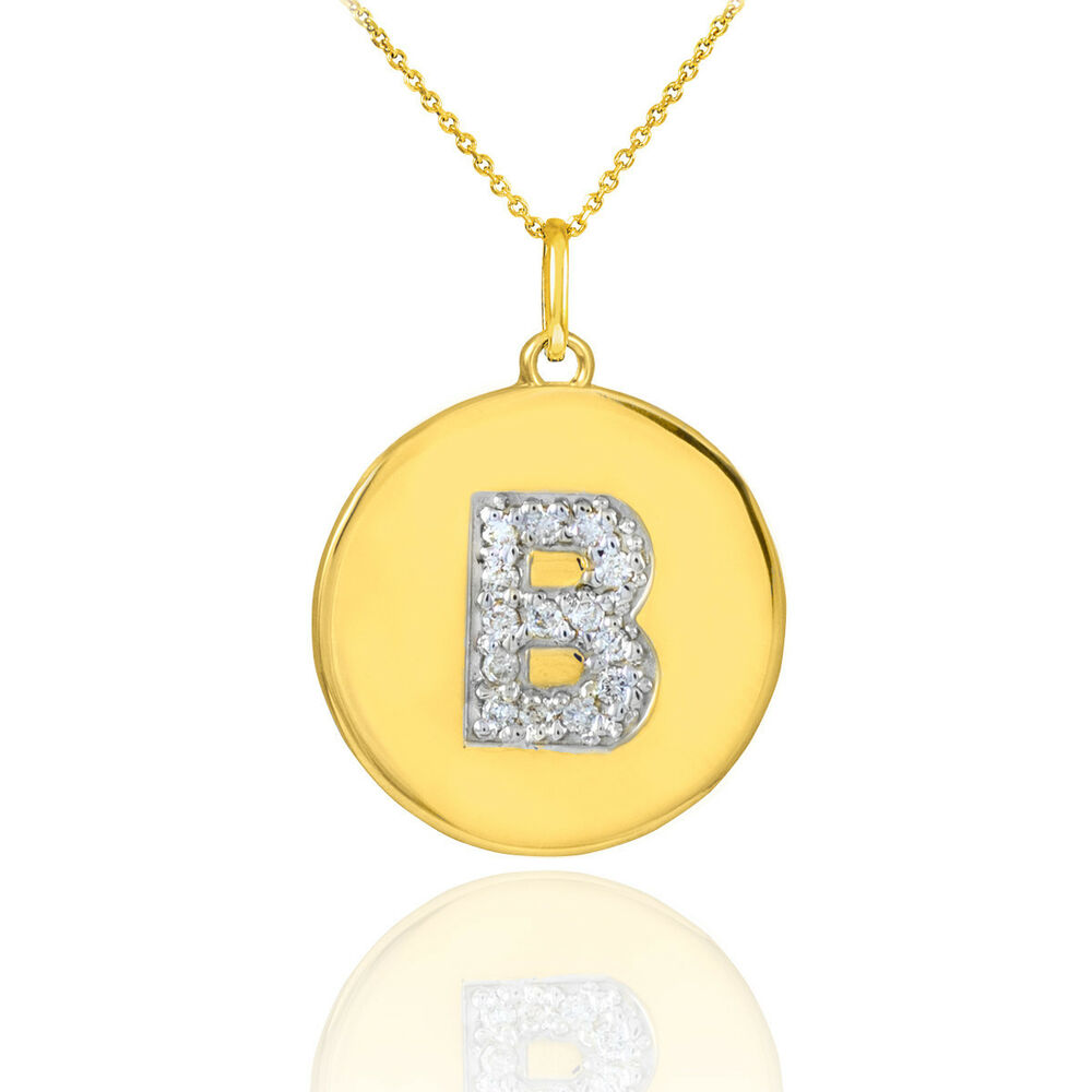 10k yellow gold letter b initial diamond disc charm. Black Bedroom Furniture Sets. Home Design Ideas