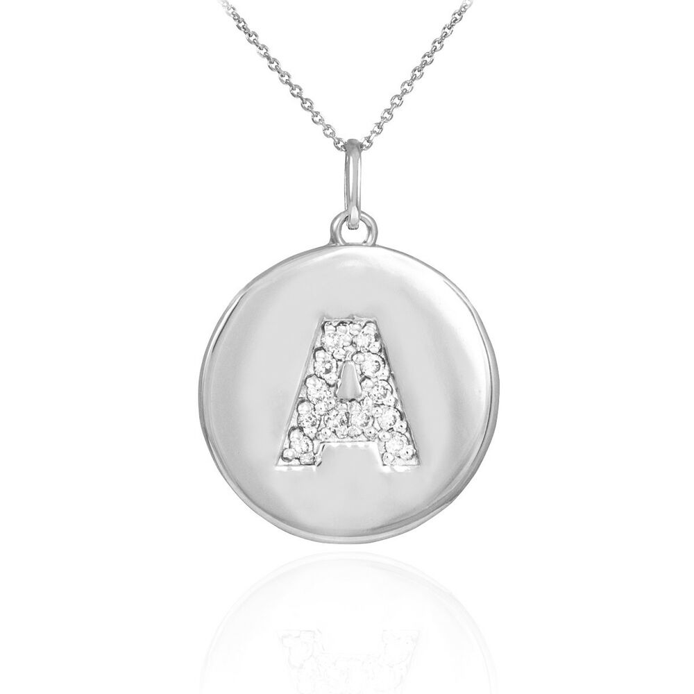10k white gold letter quot a quot initial disc charm