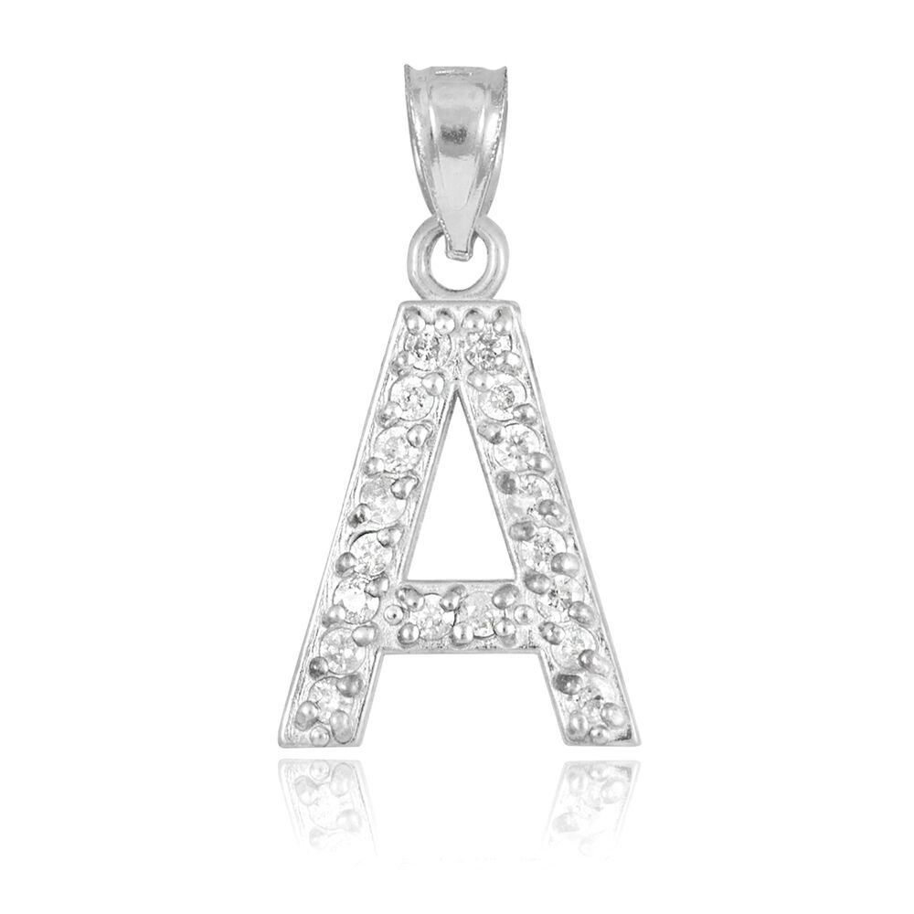 diamond letter necklace 10k white gold letter quot a quot initial pendant necklace with 21360
