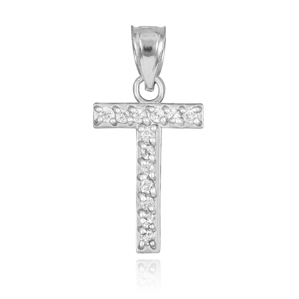 "Fine 10k White Gold Letter ""T"" Initial Pendant Necklace ..."