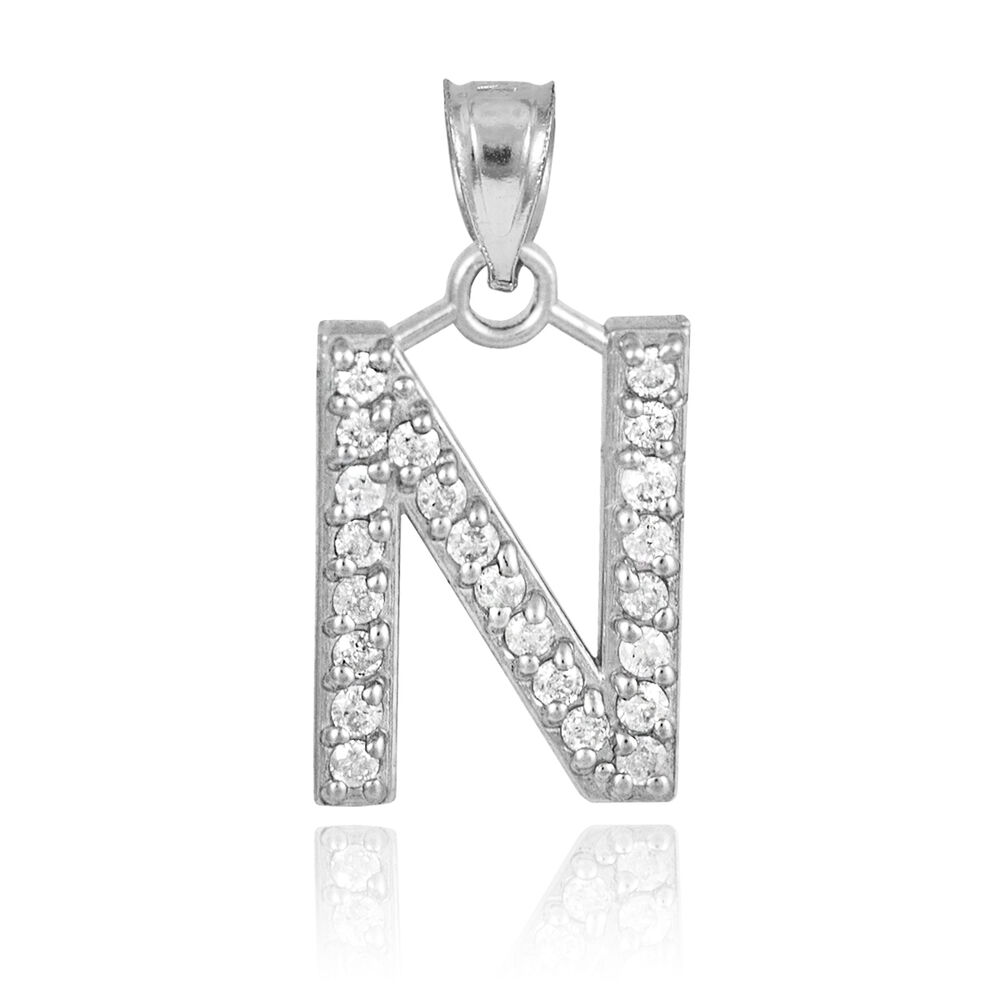 "10k White Gold Letter ""N"" Initial Pendant Necklace ..."