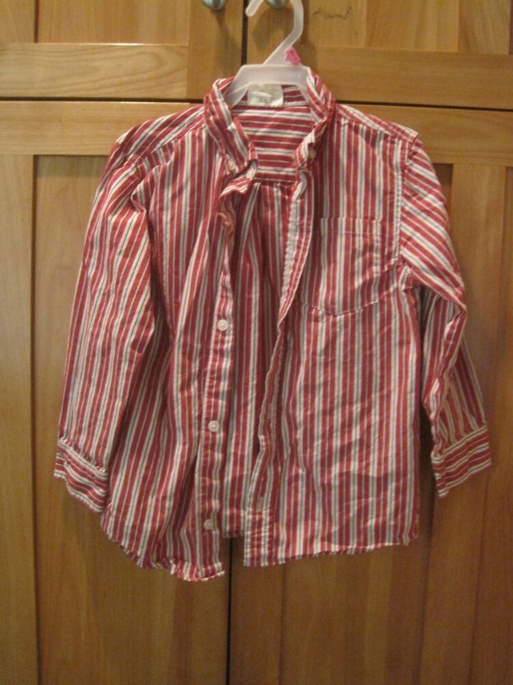 Boy crazy 8 red white vertical striped button down collar for Red and white button down shirt