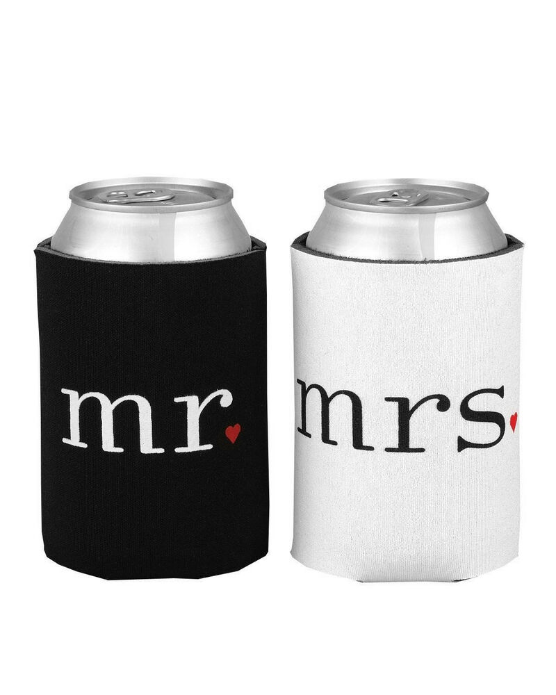 Soda Can Cooler ~ Mr and mrs soda can cooler foam holder wedding decor
