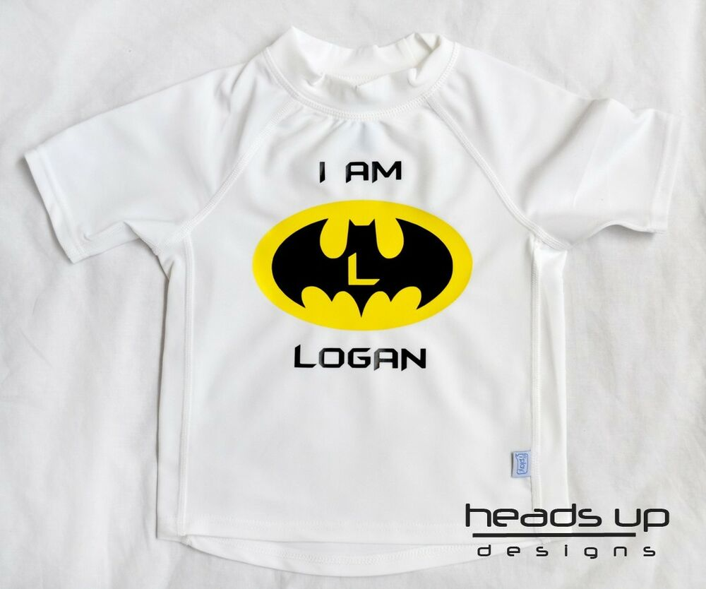 batman rashguard swim shirt personalized boy toddler baby