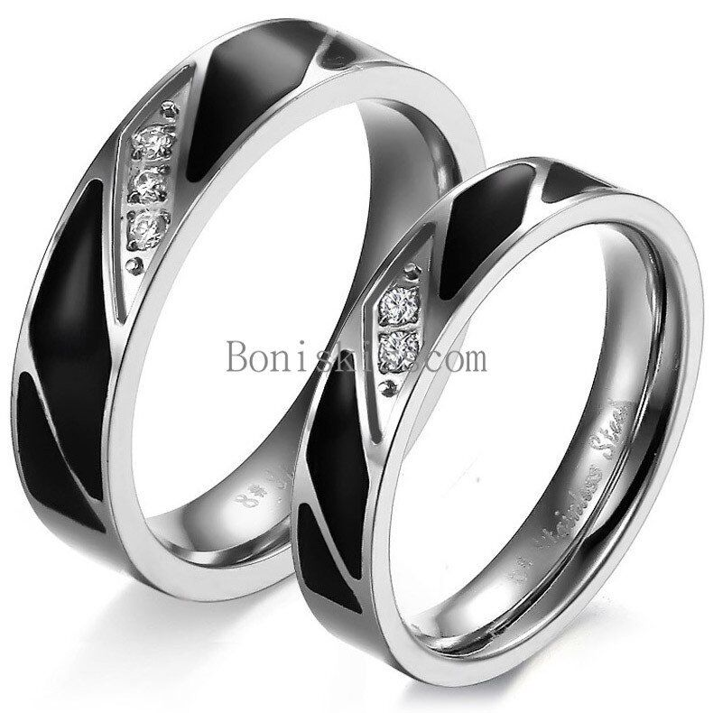 stainless steel black enamel w cubic zirconia promise ring. Black Bedroom Furniture Sets. Home Design Ideas