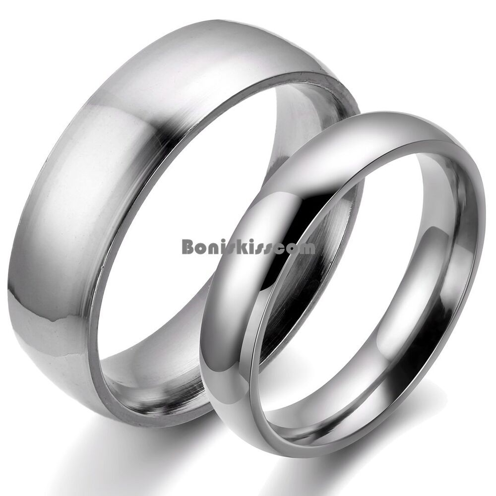 Silver Stainless Steel Dome Ring Engagement Plain Wedding