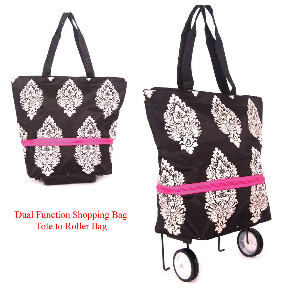 shopping bag on wheels expandable to lightweight roller bag with free id holder ebay. Black Bedroom Furniture Sets. Home Design Ideas
