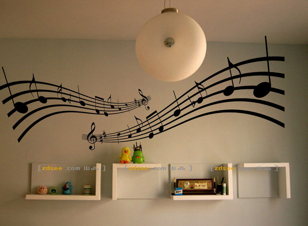 Large music notes melody wall stickers decals vinyl home for House music vinyl