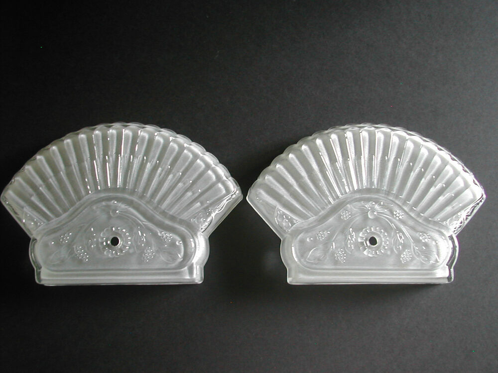 VINTAGE FROSTED GLASS CEILING LIGHT FIXTURE END COVERS eBay