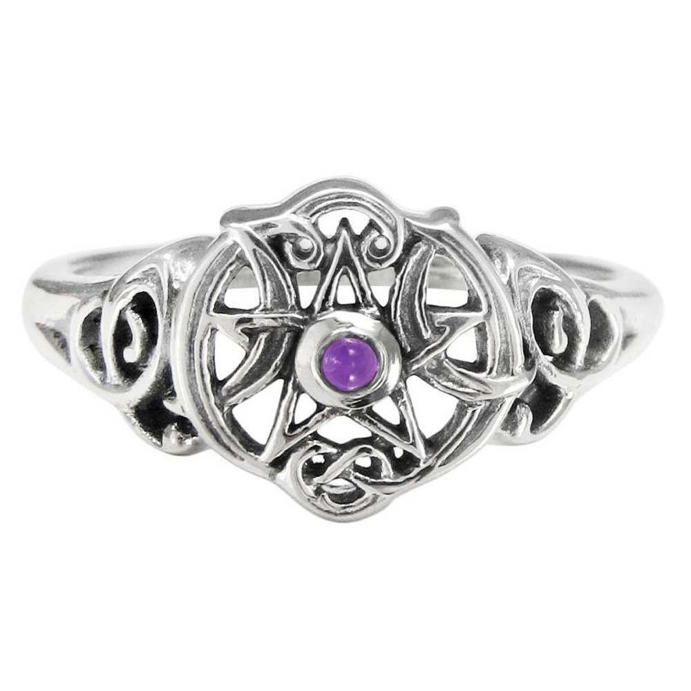 Sterling silver heart wiccan pentacle amethyst ring dryad for The sterling