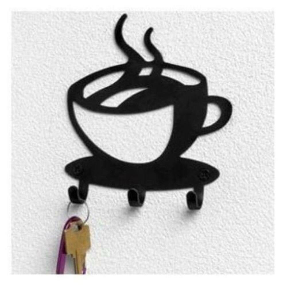 Coffee Cup Java Silhouette Wall Mounted Key Holder Hook